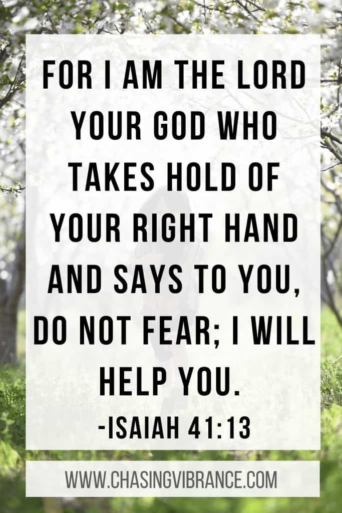 Text of Isaiah 41:13 for I am the lord who takes hold of your right hand