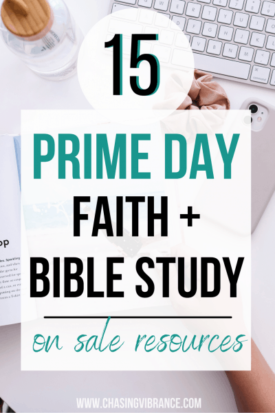 computer, bible study scrunchie with text overlay 15 prime day faith and bible study on sale resources text