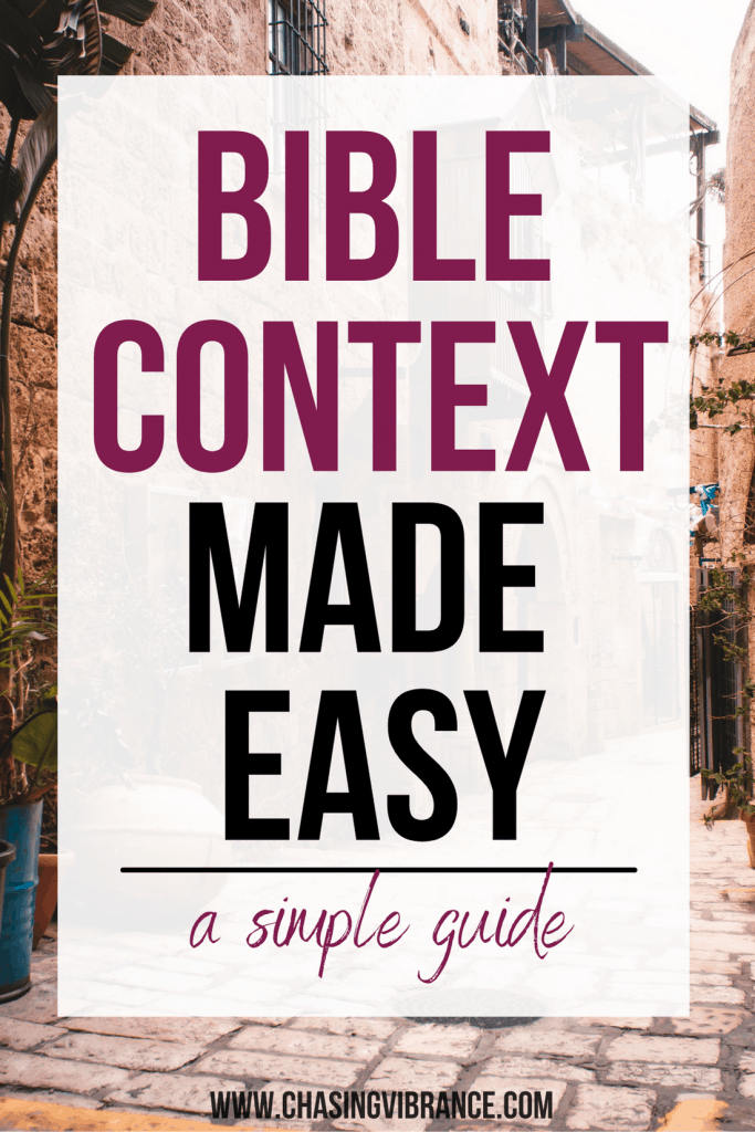 Bible context made easy in large text over photo of Israel