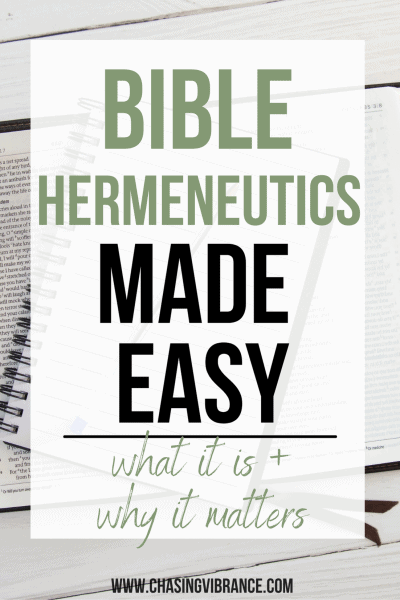 large text Bible Hermeneutics Made Easy with bible and notebook in background