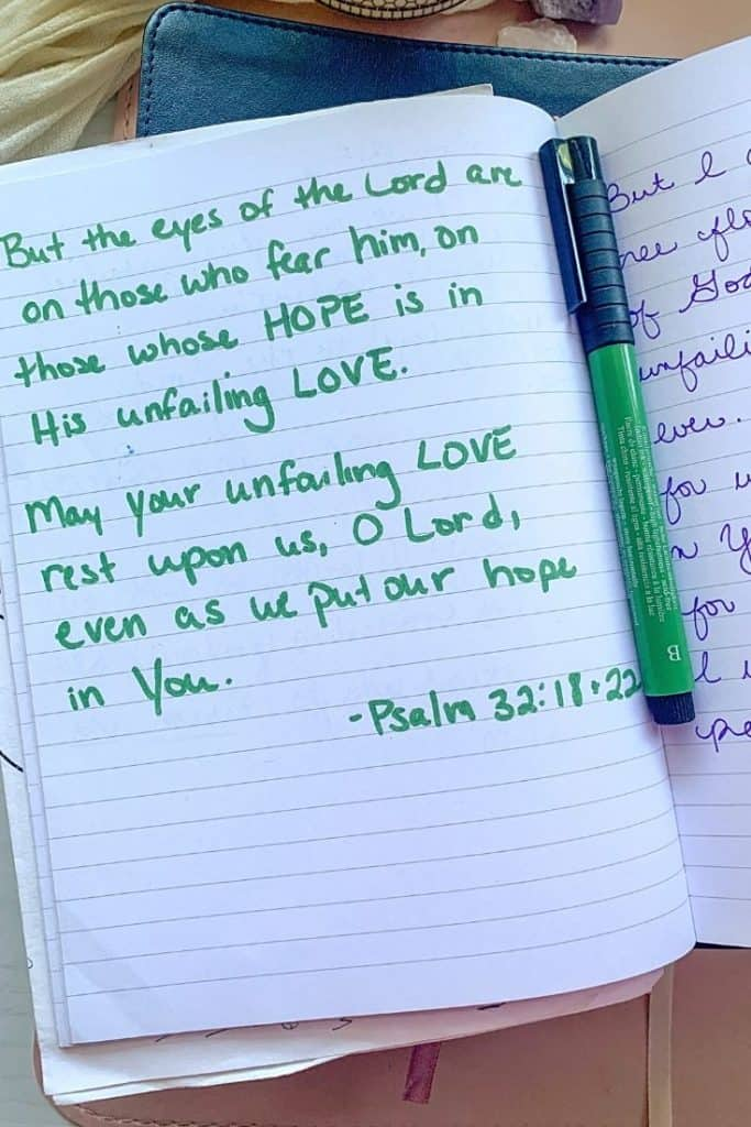 Passage of Scripture about hope written out in green ink