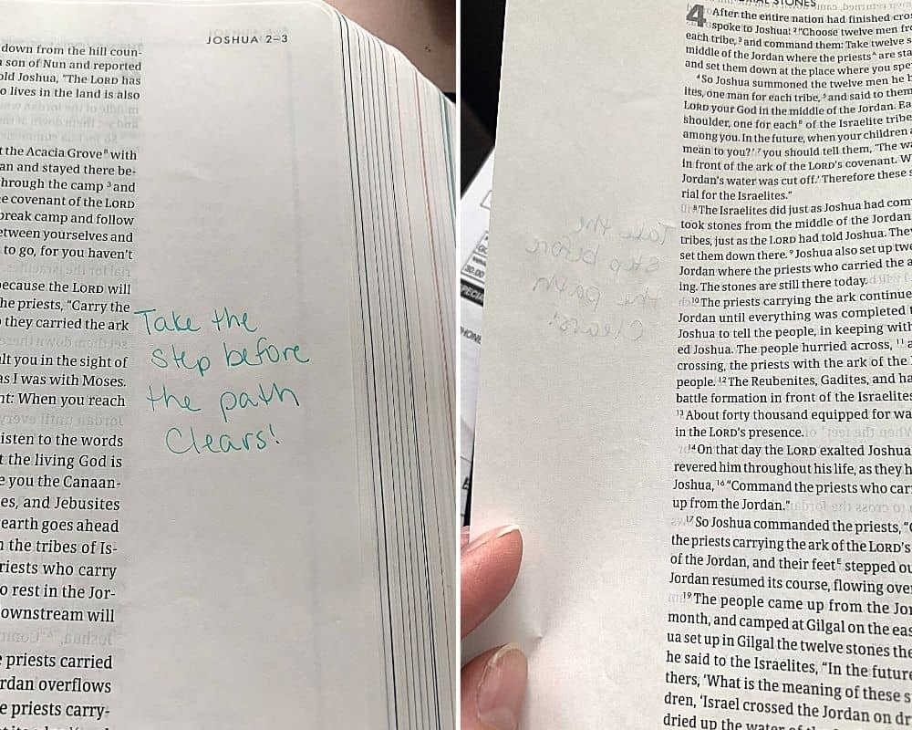 Bible page with green writing in the notes on the front and back of the pages to show bleed through amount of writing